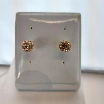 8mm Round Amber Crystal Stud Earrings
