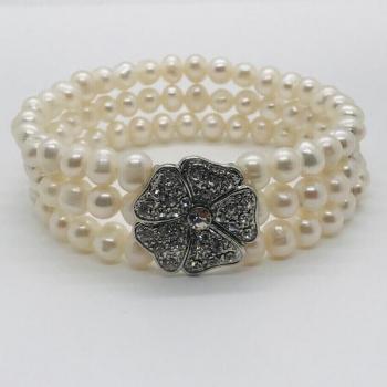 Freshwater Pearl Flower Bracelet