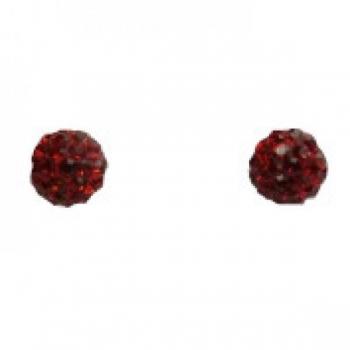 Red Crystal Shambala Style Stud Earrings