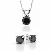 0.60ct Black Diamond Necklace Set