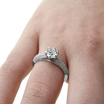 1ct Cubiz Zirconia Mircro Set Sterling Silver Ring