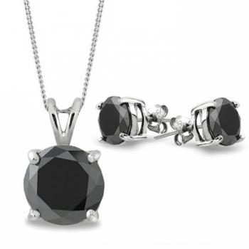 2ct Black Moissanite Diamond Set