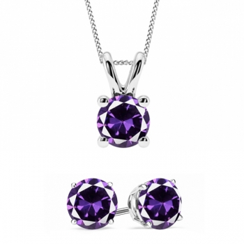 Amethyst Earring & Necklace Set