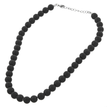 Black Glass Pearl Necklace