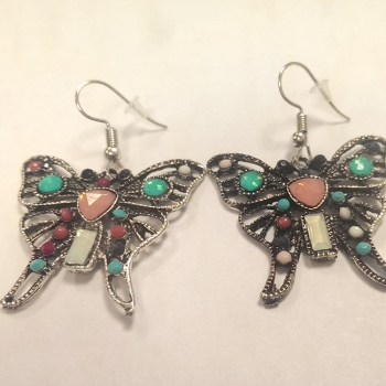 Butterfly Earrings With Coloured Gem Detail