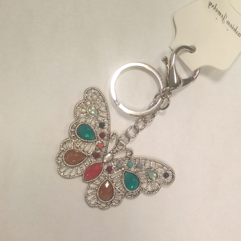 Butterfly Keyring With Coloured Gem Detail