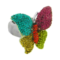 Crystal Expander Butterfly Ring, Multi-Coloured, MIG0167