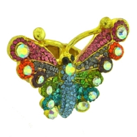 Crystal Expander Butterfly Ring, Gold Tone, MIG0162, Adjustable