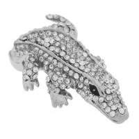 Crystal Expander Ring, Crocodile, Silver Tone - MIG0233, Adjustable