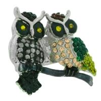 Crystal Expander Ring, Two Owls Design, MIG0203, Adjustable