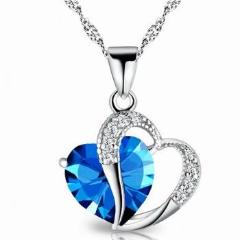 Cubic Zirconia Blue Heart Necklace