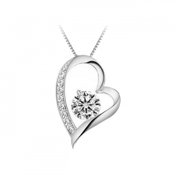 Cubic Zirconia Love Heart Necklace