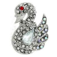 Swan Stoneset Diamante Brooch, Silver Tone, MC390, Mixed Metals