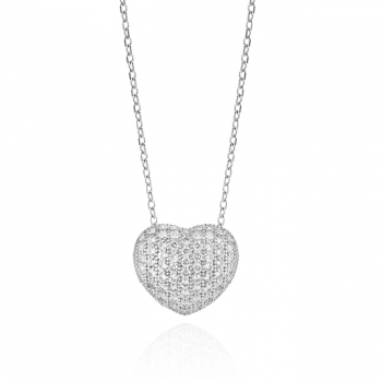 Diamond & CZ Heart Necklace.
