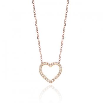 Diamond & CZ Open Heart Necklace.