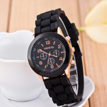 Geneva Black Gummy Watch