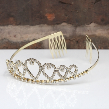 Gold Tone Crystal Tiara
