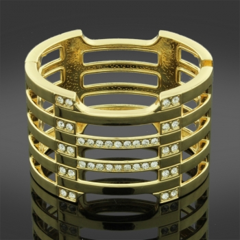 Gold Tone Cuff Bangle With Diamante Detail