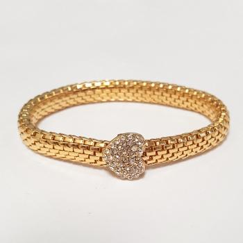 Gold Tone Diamante Heart Bracelet