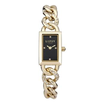 Lipsy Ladie's Quartz Watch, Black Analogue Dial, Gold Plated Bracelet LP229
