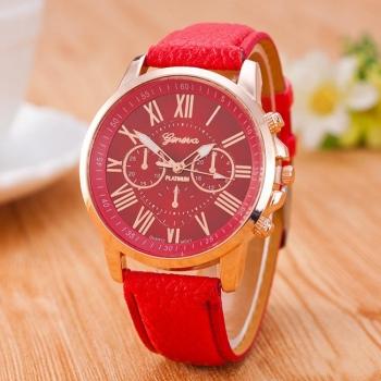 Ladies Red Geneva Watch