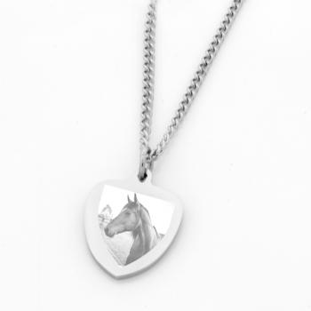 Ladies Stainless Steel Shield Pendant
