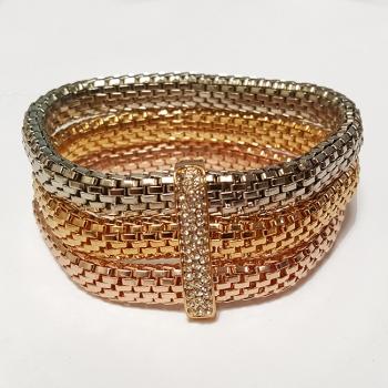 Multi Tone Diamante Charm Bracelet