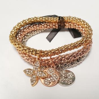 Multi Tone Diamante Charm Bracelet Set