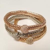Multi Tone Diamante Heart Bracelet Set