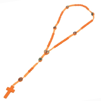 Orange Wooden Rosary Beads