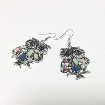 Owl Earrings With Coloured Gem Detail