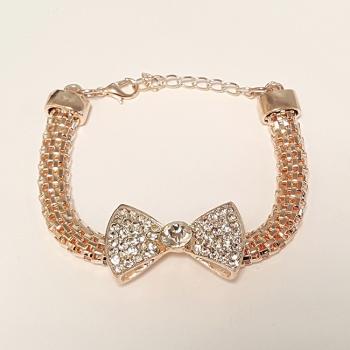 Rose Gold Tone Diamante Bow Bracelet