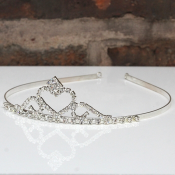 Silver Tone Crystal Tiara