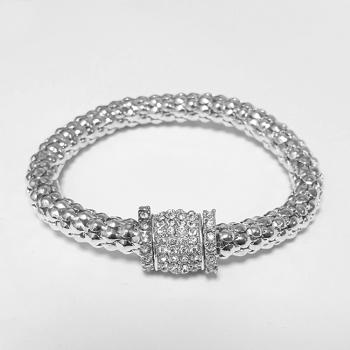 Silver Tone Diamante Charm Bracelet