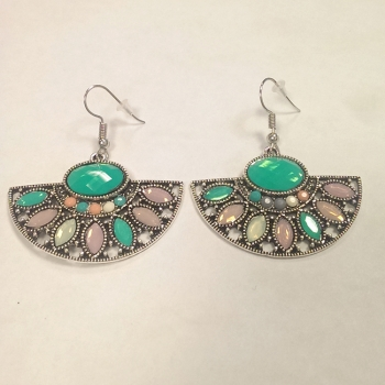 Statement Earrings With Coloured Gem Detail