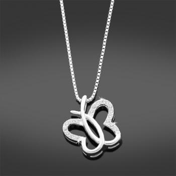 Sterling Silver & CZ Butterfly Necklace