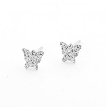 Sterling Silver & CZ Butterfly Earrings
