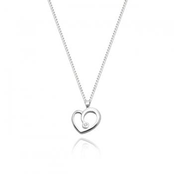 Sterling Silver & Diamond Heart