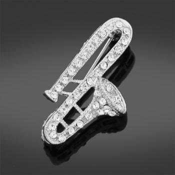 Saxophone Stoneset Brooch