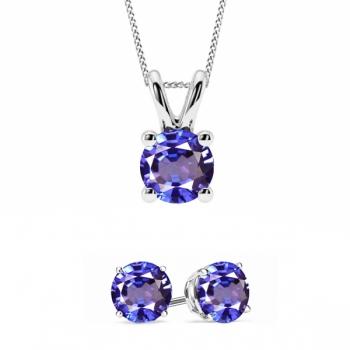 Tanzanite CZ Earring & Necklace Set