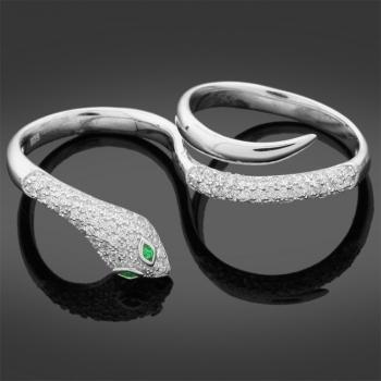 Two Finger Silver Snake Ring