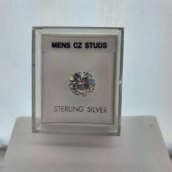 8mm Men's Silver Cubic Zirconia Stud