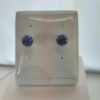 8mm Round Blue Crystal Stud Earrings
