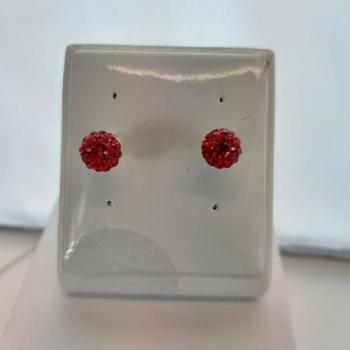 8mm Round Scarlet Crystal Stud Earrings