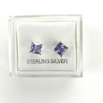 8mm Sterling Silver Amethyst Stud Earrings
