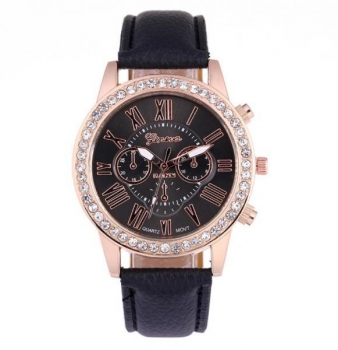 Beautiful Black Geneva Womens Crystal Watch