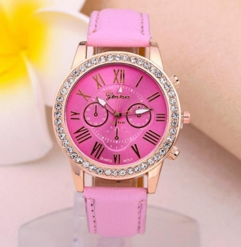 Beautiful Pink Geneva Womens Crystal Watch