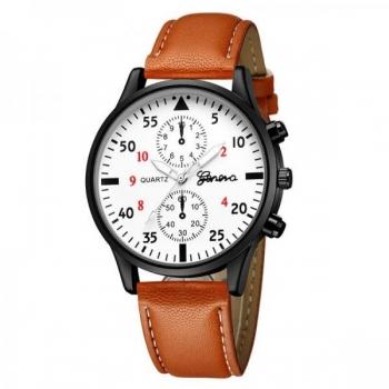 Brown and White Geneva Men's Watch