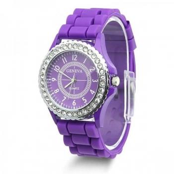 Geneva Women's Watch With Crystal Case - Purple
