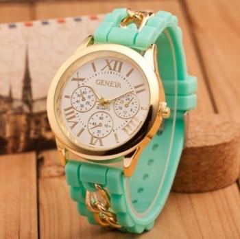 Geneva Women's Watch Gold Sillicone Chain Bracelet